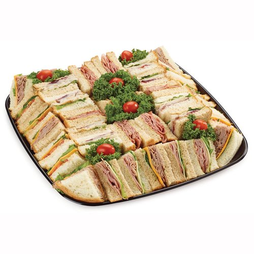 48 hour Prep Time Required for Party Platters. Limit 10 Per Order. Ham & Swiss, Roast Beef & Cheddar, Veggie & Cheddar, Turkey with Cranberry Sc & Pastrami Mustard on White/Whole Wheat.