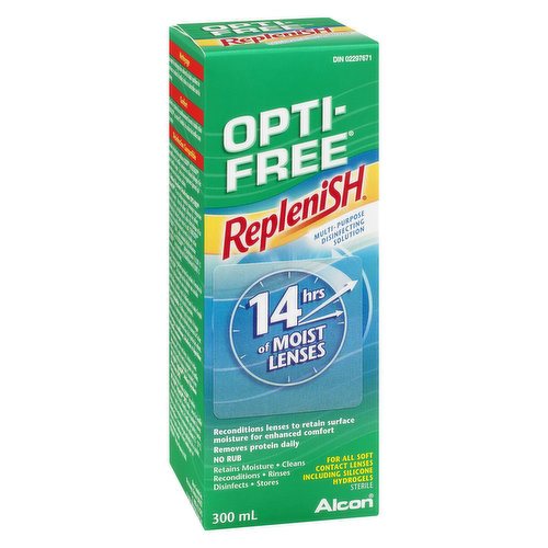 Replenish Multi Purpose Disinfecting.  Reconditions Lenses to Retain Surface Moisture for Enhanced Comfort. Removes Protein Daily. For All Soft Contact Lenses Including Silicone Hydrogels.