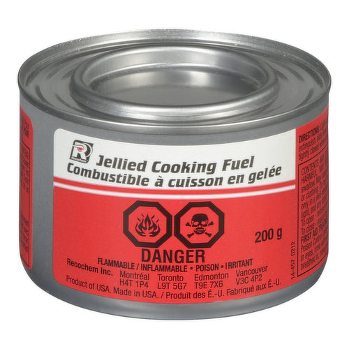 Recochem Jellied Cooking Fuel is a methanol based mixture that burns with a clean flame and produces good intense heat.Flammable.