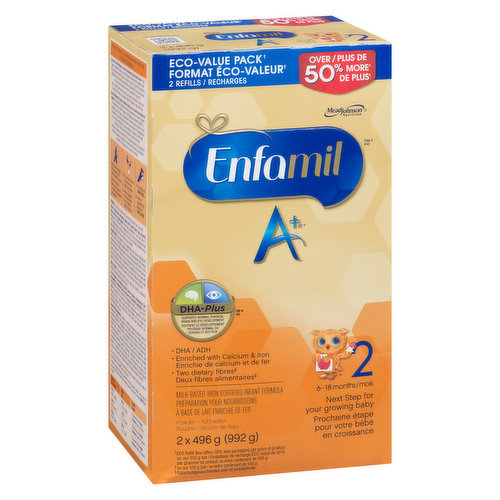 For 6 -18 Months. Neuro Support. DHA. Enriched with Calcium & Iron. Two Dietary Fibres. 2x496g Packs.