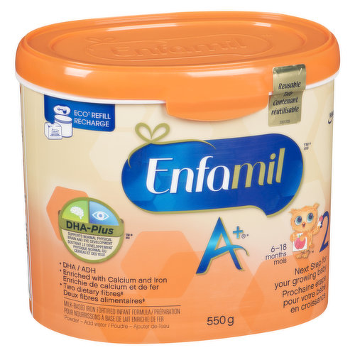 Next  Step for your Growing Baby. DHA, Enriched with Calcium and Iron. Two Dietary Fibres. Reusable Tub