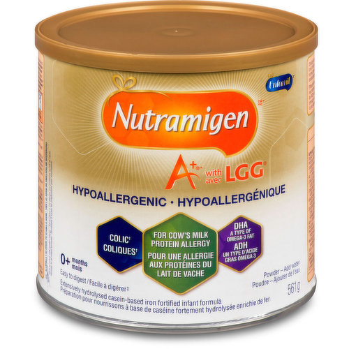 A+ with LGG, quickly reduces colic due to cows milk protein allergies and adds friendly bacteria. Hypoallergenic. For ages zero months plus.