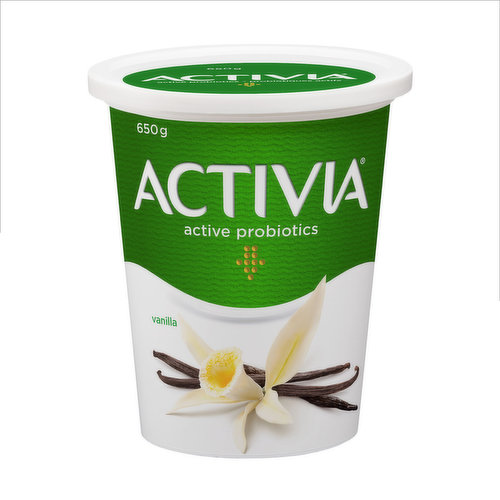Danone Activia Vanilla Yogurt is a creamy yogurt filled with live probiotics. These good bacteria, the B.L. Regularis, are exclusive to Activia and contribute to the health of the intestinal flora. Activia tasty vanilla yogurt contains many important