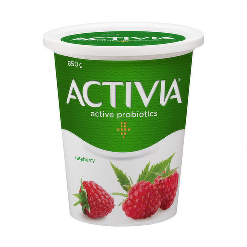 Danone Activia Raspberry Yogurt is a creamy yogurt filled with live probiotics. These good bacteria, the B.L. Regularis, are exclusive to Activia and contribute to the health of the intestinal flora. Activia raspberry yogurt contains many important nutrients, including calcium and potassium, and has 2.9% fat. No artificial flavors or colors added. Available in a wide variety of flavours. Find your favourite!