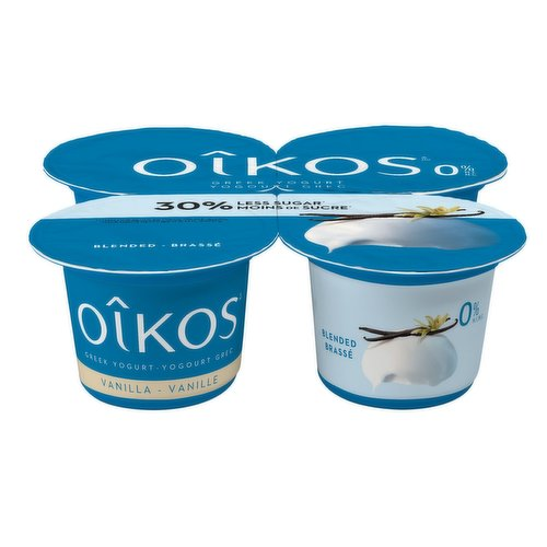 Get swept away to a land of salt, sea, and sun with Oikos lower sugar vanilla Greek yogurt. Inspired by the Mediterranean zest for life, this yogurt has 30% less sugar* without compromising on incredible taste and luxuriously creamy texture.4X100g cups.
