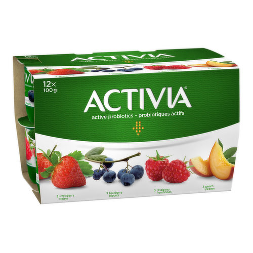 Assortment of Danone Activia small individual creamy yogurts: strawberry (3), blueberry (3), peach (3), and raspberry (3), perfect for a healthy snack. Filled with live probiotics, these good bacteria, the B.L. Regularis, are exclusive to Activia and contribute to the health of the intestinal flora. These tasty Activia yogurts are made from milk enriched with vitamin D. They contain many important nutrients, including calcium and potassium, and have 2.9% fat. Available in a wide variety of flavours. Find your favourite!
