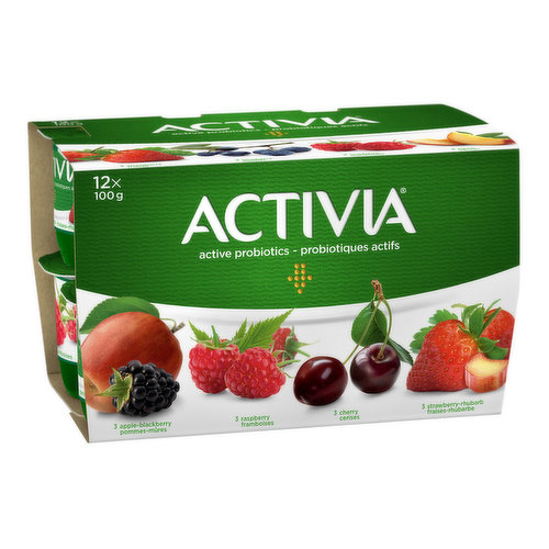 Assortment of Danone Activia small individual creamy yogurts: cherry (3) strawberry-rhubarb (3) apple-blackberry (3), and raspberry (3), perfect for a healthy snack. Filled with live probiotics, these good bacteria, the B.L. Regularis, are exclusive to