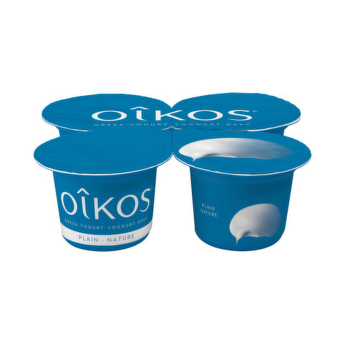 Plain, yes as in plain and simply inspiring! Oikos 2% Greek Plain yogurt is the ideal solution to both your small cravings and elaborate recipes. Whether youre dreaming of a sweet or a salty snack, Oikos Greek plain yogurt is the tastiest answer! Velvety and smooth, its all of the pleasure and none of the fuss. Go on, let your creativity go wild. A nonfat canvas for your greatest ideas. Also available in 4% version, richer and creamier. Try it today.