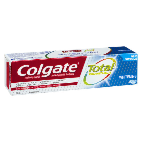A new formula that helps remove stains, fights bacteria on teeth, tongue, cheeks & gums. Provides protection against gingivitis, tartar, cavities. Prevents sensitivity, enamel problems & bad breath.