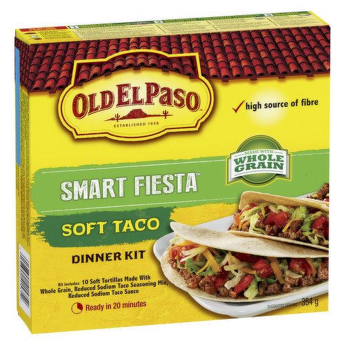 Kit Includes 10 Soft Tortillas Made with Whole Grain, Reduced Sodium Seasoning Mix & Reduced Sodium Taco Sauce