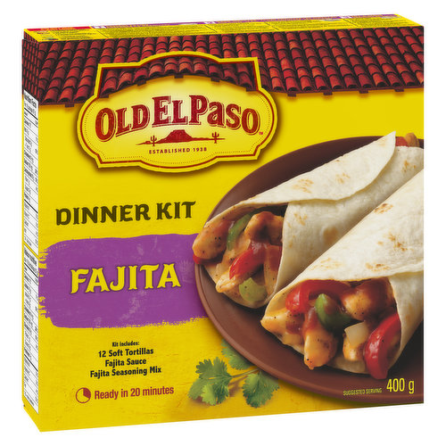12 Soft Tortillas, Fajita Sauce and Fajita Seasoning Mix. Ready in 20 Minutes.