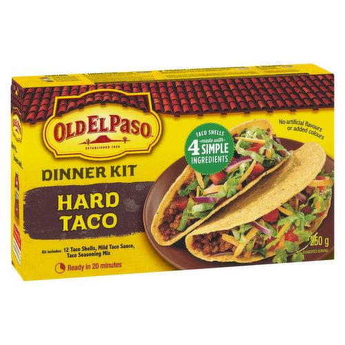 12 Taco Shells, Mild Taco Sauce and Taco Seasoning Mix.