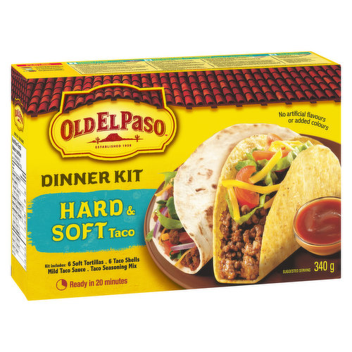6 Soft Tortillas, 6 Taco Shells, Mild Taco Sauce and Taco Seasoning Mix. No Artificial Flavours, Ready in 20 Minutes.