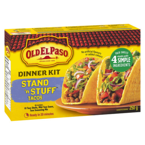 Kit Includes: 10 Taco Shells, Mild Taco Sauce, Taco Seasoning Mix. Ready in 20 Minutes. No Artificial Flavours.