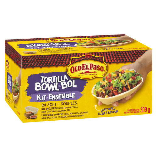 Soft tortilla bowls are a no mess solution for Mexican night. Now available in a kit. A new way to eat tacos.