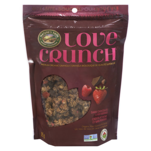 This Organic granola is SO good itll turn anyone into an organic food fan! Deliciously crunchy granola clusters, real fruit pieces & dark chocolate chunks. Kosher. Resealable pouch.