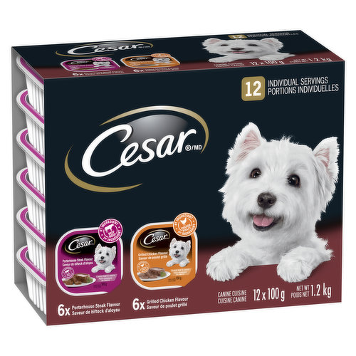 12X100 g Servings of Tender cuts of real meat or poultry simmered in a flavourful sauce . 6 Cans of Grilled Chicken Flavour  and 6 Cans of Porterhouse Steak Flavour.   Devoted to Small Dogs.