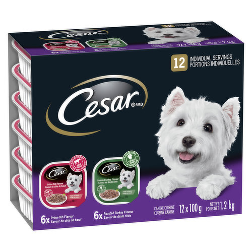 12X100g Servings. 6 Cans of Beef Tenderloin Flavour, 6 Cans of Roast Turkey Flavour.  Devoted to Small Dogs.