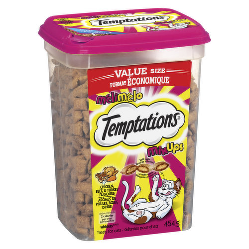 The best of all worlds! Three tantalizing flavours in one pack (chicken, beef, turkey). Shake, watch your cat come running. No artificial flavours. 100% complete balanced for adult cats. Value Size.