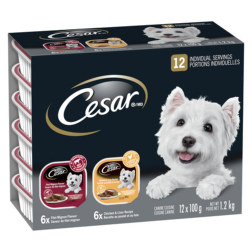 12X100 g Servings of Tender cuts of real meat or poultry simmered in a flavourful sauce . 6 Cans of Chicken Liver and 6 Cans of Filet Mignon.   Devoted to Small Dogs.