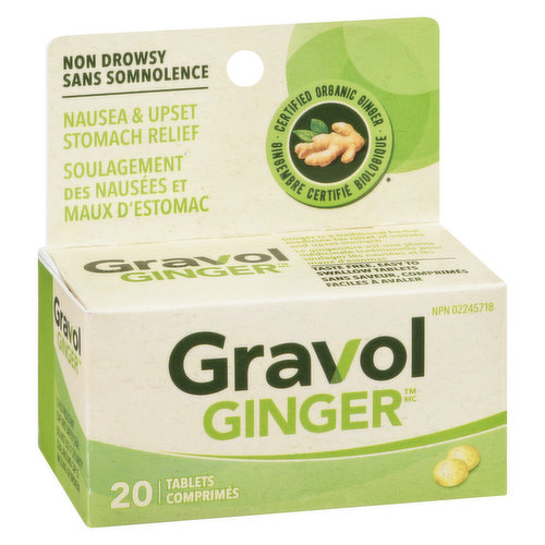 Certified Organic Ginger Filmkote TabletsNo Drowsiness Reported
