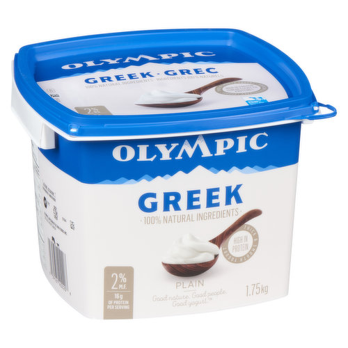Greek Style Thick and Rich Yogurt 0% M.F. 100% Natural Ingredients Very High in Protein.