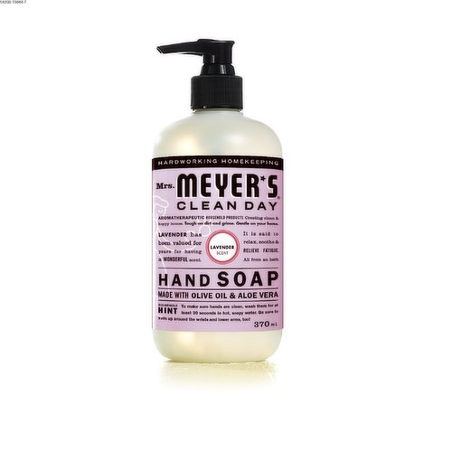 Mrs. Meyer's Clean Day Lavender Hand Soap contains a special recipe of plant-derived cleaning ingredients, aloe vera gel, olive oil, essential oils and other thoughtfully chosen ingredients to create a hard working, non-drying, yet softening cleaner for b