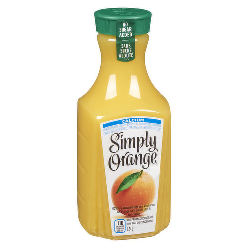 100% Pure & Natural Orange Juice with Calcium. Not from Concentrate.