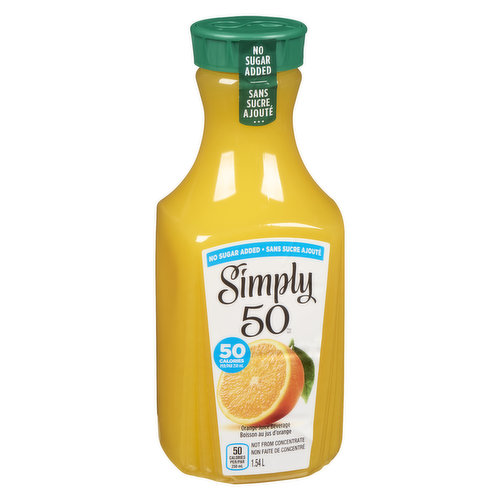 Try a delicious taste that's the next best thing to fresh-squeezed. Never sweetened, concentrated or frozen.50% less calories than regular orange juice.