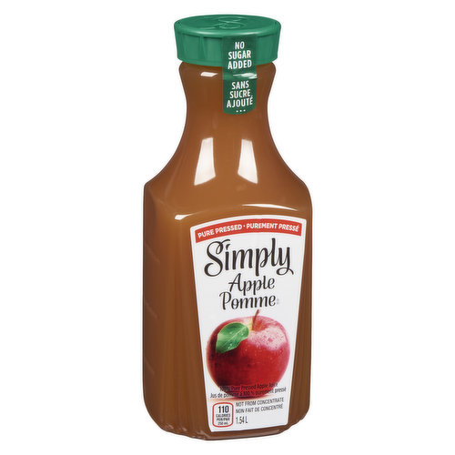 One hundred percent pure-pressed apple juice. Its like biting into a crisp, juicy, perfectly ripe apple.