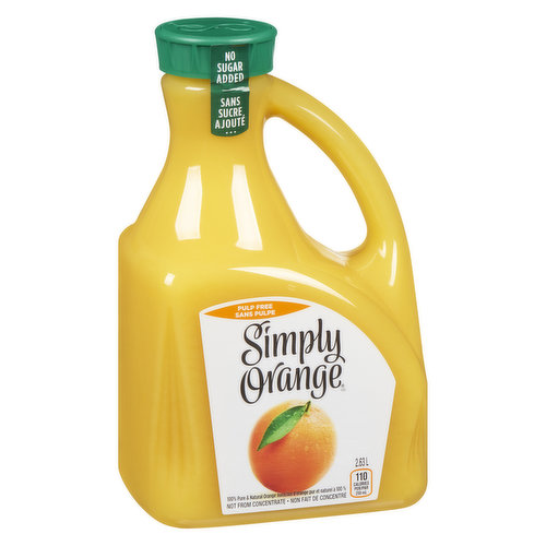 100% Pure & Natural Orange Juice.  Not from Concentrate. 120 Calories per 250 ml.