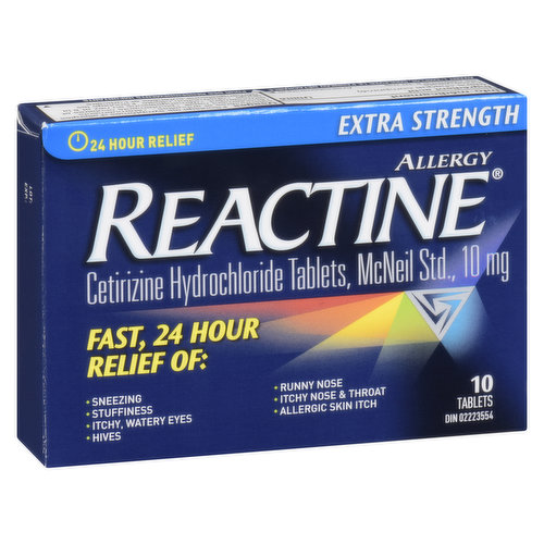 10mg tablets. Cetirizine hydrochloride. Relieves sneezing, stuffiness, itchy, watery eyes, hives, runny nose, itchy nose & throat, nasal congestion & allergic skin itch.