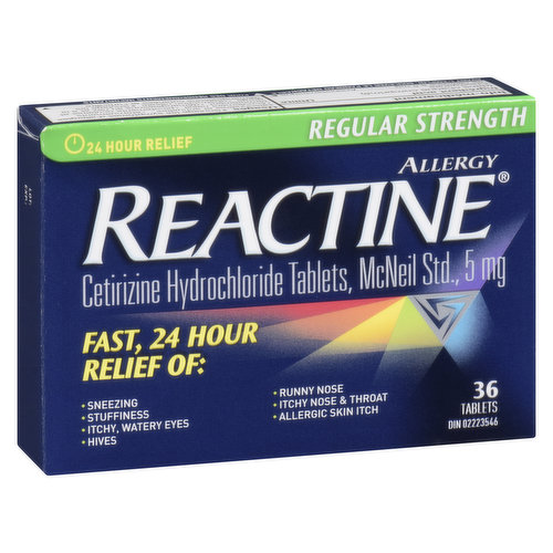 Cetirizine hydrochloride tablets. Non-drowsy.  Relieves, sneezing, stuffiness, itchy, watery eyes, hives, runny nose, itchy nose and throat, nasal congestion and allergic skin reaction.