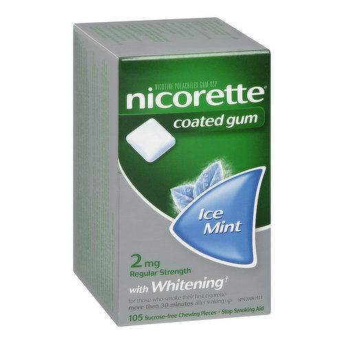 Quit Smoking With the Help of Nicorette Gum,Coated for More Intense Flavor, Sugar Free,Easy Pop-Out Foil, for Those Who Smoke Their First Cigarette 30 Minutes After Waking Up. Sucrose Free Pieces.