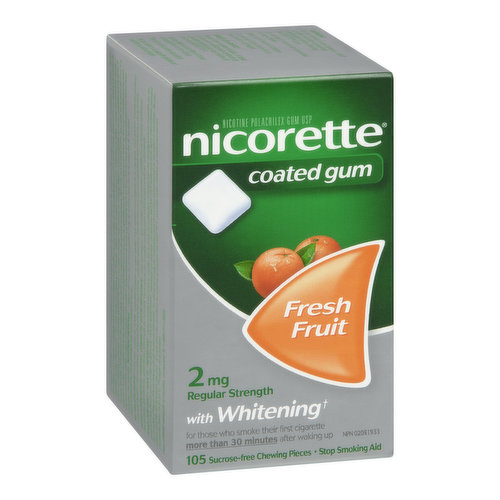 Nicorette Fresh Fruit Gum Is For The Relief Of Nicotine Withdrawal Symptoms As An Aid To Giving Up Smoking. It Is Used To Help Smokers Who Are Ready To Stop Smoking Immediately. With Whitening