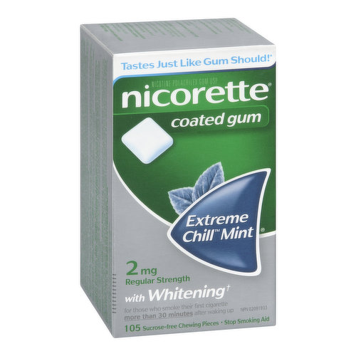 For those who smoke their first cigarette more than 30 minutes after waking up. Releases controlled amounts of nicotine to help you deal with cravings and withdrawal symptoms. Plus it whitens teeth!