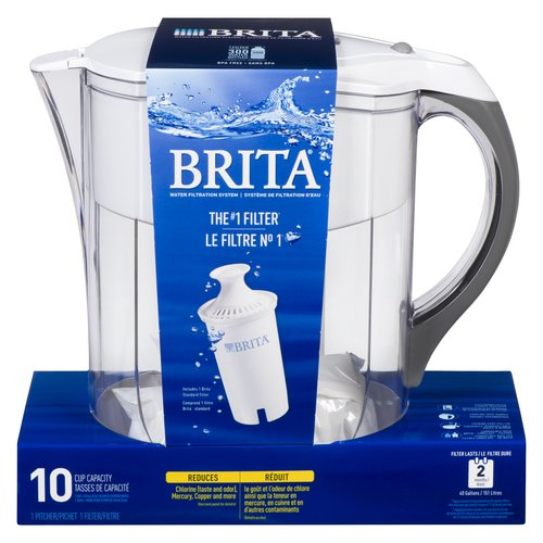 10 Cup Water Filtration System. One Pitcher and 1 Filter. With Electronic Filter Indicator, Smooth Basic Handle and Easy Fill Lid.
