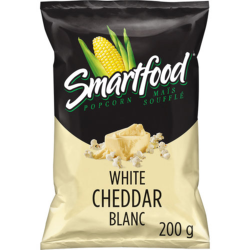A creamy and mild real white cheddar cheese taste! It is also air popped and made with 100% whole grain corn.