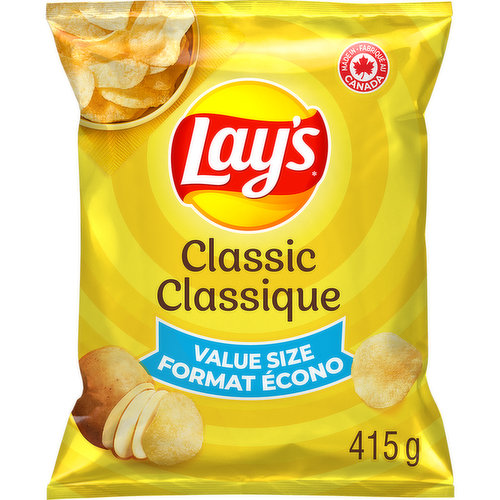 Crispy, light tasting, fresh & delicious, Lays Classicpotato chips were designed to put a smile on everyones face, which makes them the perfect snack to share. It's the 'classic' snack tradition Canadians love! Gluten free kosher.