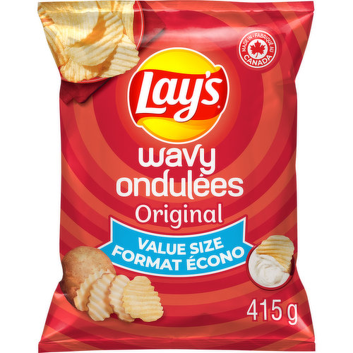 Enjoy the greattasting wavy potato chips made with 50% less sodium than Wavy LaysOriginal potato chips! This fun snack lets you enjoy your lightly salted potato chips without giving up the delicious taste of classic Lays. Kosher.