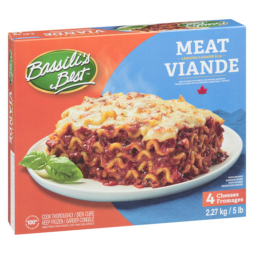 Frozen. Fresh Pasta with Hearty Tomato Meat Sauce, Mozzarella, Ricotta, Cheddar and Parmesan Cheese. Serves 10 Portions.