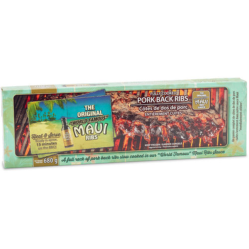 """A full rack of pork back ribs slow cooked in their """"world famous"""" Maui Ribs sauce. Keep frozen until use."""