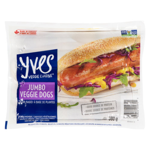 A real hunger stopper, these ballpark-style Jumbo dogs are 60% bigger than our Veggie Dogs. Great barbecue taste  just more of it! Still low in fat and cholesterol-free.
