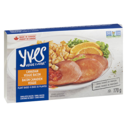 Vegan, Good Source of Protein. Simulated Bacon Contains no Meat
