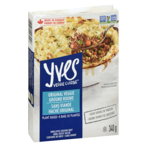 Vegan, Good Source of Protein. Simulated Ground Beef. Contains No Meat.