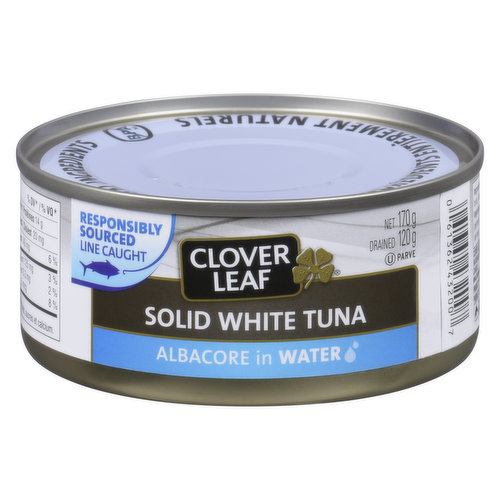 Dolphin Friendly. Canned Solid White Albacore Tuna in Water.