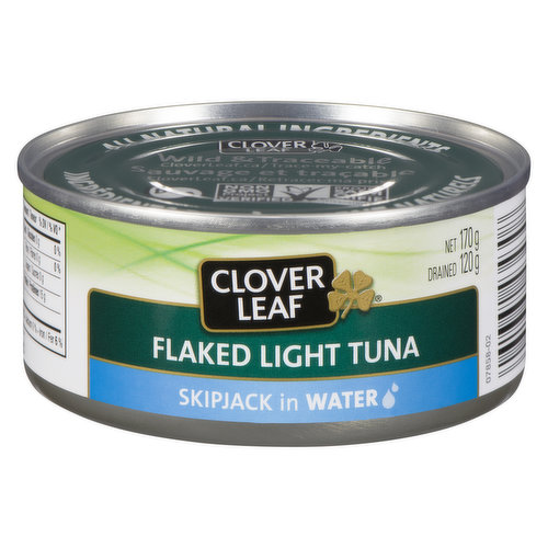 Canned Flaked Light Skipjack Tuna in Water.