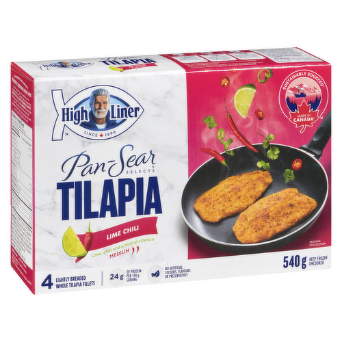 Frozen 4 Lightly Breaded Whole Fillets with a Hint of Cilantro. Excellent Source of Protein. Medium Hot.