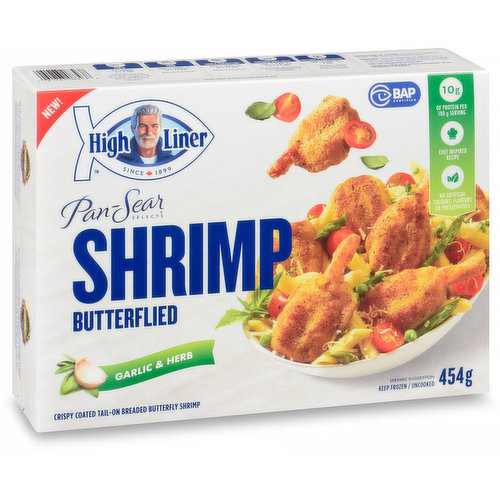 Keep Frozen. Uncooked. Crispy coated tail-on breaded butterfly shrimp.