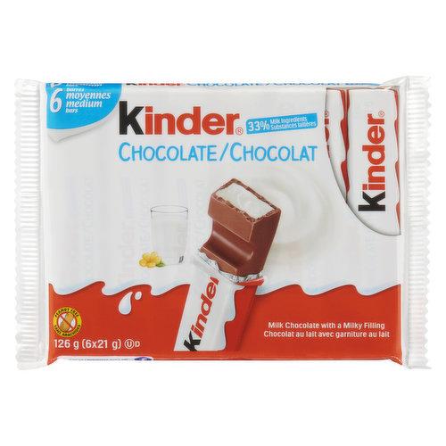 6x21g Medium Milk Chocolate Bars with Milking Filing.33% Milk Ingredients.